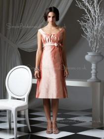 Taffeta Bateau Zipper Sleeveless Bow/Ruffles/Sash Bridesmaid Dress