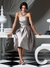 Bow/Draped/Ruffles Silver Sleeveless A-line Strapless Bridesmaid Dress