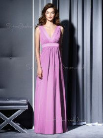 Floor-length Lilac Sleeveless Chiffon Draped/Ruffles Bridesmaid Dress