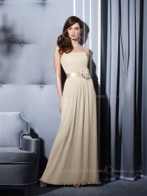 Chiffon Strapless A-line Sleeveless Floor-length Bridesmaid Dress
