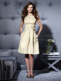 Champagne Zipper Sleeveless Knee-length A-line Bridesmaid Dress