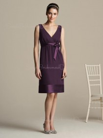 Zipper Natural Chiffon Bow/Ruffles/Sash Grape Bridesmaid Dress