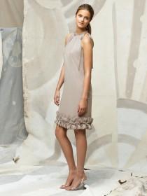 Champagne Natural Chiffon Flowers/Ruffles Zipper Bridesmaid Dress