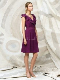 Chiffon Zipper A-line Knee-length V-neck Bridesmaid Dress