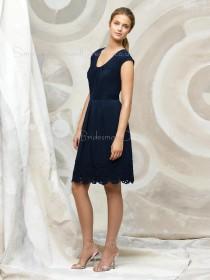 Sleeveless Lace/Ruffles A-line Natural Chiffon Bridesmaid Dress