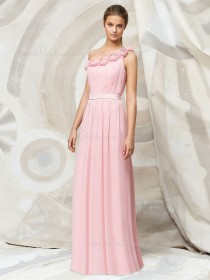Pink Floor-length Chiffon Natural A-line Bridesmaid Dress