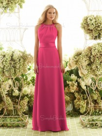 High-Neck Fuchsia Sleeveless Natural Chiffon Bridesmaid Dress