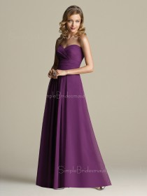 Chiffon Grape Sleeveless Floor-length Sweetheart Bridesmaid Dress