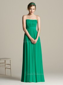 Chiffon Draped/Ruffles A-line Empire Strapless Bridesmaid Dress