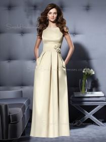 Bateau Sleeveless Satin Zipper A-line Bridesmaid Dress