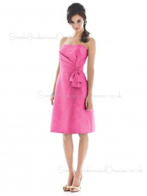 Pink Zipper Taffeta Strapless Knee-length Bridesmaid Dress