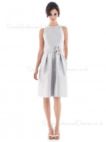 Sleeveless Satin Natural White Draped/Flowers/Ruffles/Sash Bridesmaid Dress