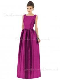 Floor-length Natural Straps A-line Taffeta Bridesmaid Dress