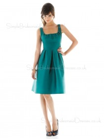 Satin Zipper A-line Knee-length Blue Bridesmaid Dress