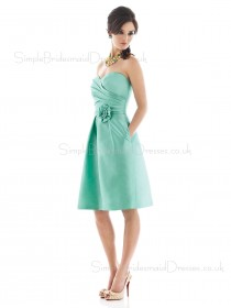 A-line Natural Sleeveless Zipper Satin Bridesmaid Dress