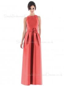 Natural Zipper High-Neck A-line Floor-length Bridesmaid Dress