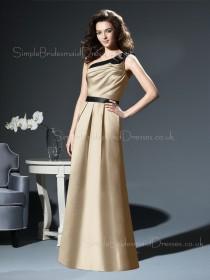 Zipper Floor-length Sleeveless A-line Natural Bridesmaid Dress