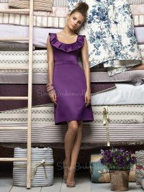 Zipper Sleeveless Straps Grape Natural Bridesmaid Dress