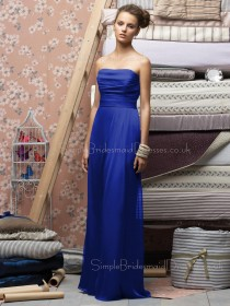 Empire Royal-Blue Draped/Ruffles Zipper Chiffon Bridesmaid Dress