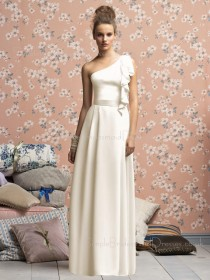 Natural Floor-length Zipper White One-Shoulder Bridesmaid Dress