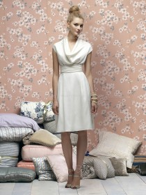 Draped/Ruffles Elastic-Satin Sleeveless Knee-length White Bridesmaid Dress