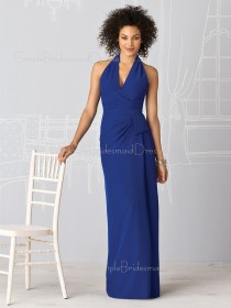Backless Ruffles Empire Halter Floor-length Bridesmaid Dress