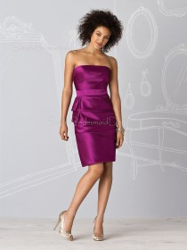 Natural Sheath Zipper Ruffles/Tiered Satin Bridesmaid Dress