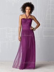 Dropped Chiffon Draped/Ruffles Halter Zipper Bridesmaid Dress