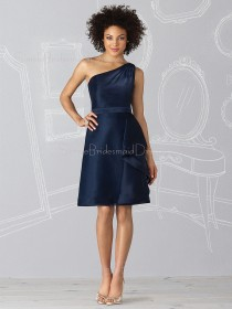 Knee-length A-line One-Shoulder Dark-Navy Ruffles Bridesmaid Dress