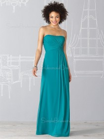 Floor-length Zipper Empire Chiffon Strapless Bridesmaid Dress
