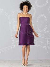 Grape Satin Knee-length Natural Zipper Bridesmaid Dress