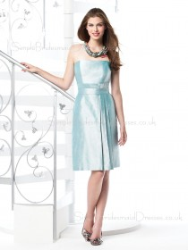 Taffeta Zipper Sleeveless Light-Sky-Blue Knee-length Bridesmaid Dress