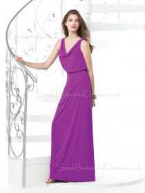 A-line Sleeveless Chiffon Floor-length Zipper Bridesmaid Dress