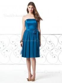 Zipper Natural Strapless Bow/Draped/Sash Sleeveless Bridesmaid Dress