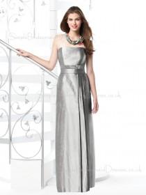 Zipper Draped/Sash Floor-length Silver Elastic-Satin Bridesmaid Dress