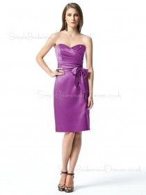 Bow/Ruffles A-line Grape Knee-length Satin Bridesmaid Dress