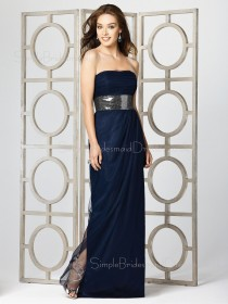 Draped/Ruffles/Sash Dark-Navy A-line Empire Chiffon Bridesmaid Dress