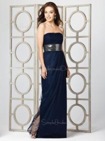 Draped/Ruffles/Sash Dark-Navy A-line Empire Chiffon Bridesmaid Dress