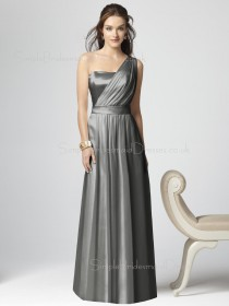 Silver Zipper Elastic-Satin Floor-length Draped/Ruffles Bridesmaid Dress