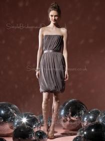 Chiffon Sheath Strapless Sleeveless Draped/Ruffles Bridesmaid Dress