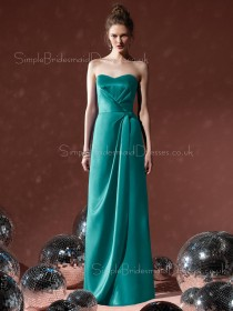 Elastic-Satin Natural A-line Floor-length Hunter Bridesmaid Dress