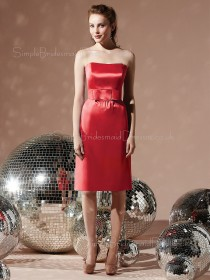 Sleeveless Natural Sheath Sash Red Bridesmaid Dress