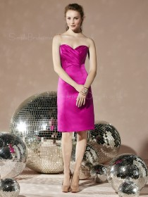 Zipper Sheath Fuchsia Sleeveless Elastic-Satin Bridesmaid Dress
