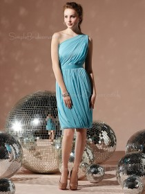 Light-Sky-Blue Natural Sleeveless Draped/Ruffles/Sash Sheath Bridesmaid Dress