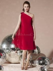Chiffon Knee-length Zipper A-line Burgundy Bridesmaid Dress