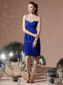 Knee-length Royal-Blue Zipper Draped/Ruffles Empire Bridesmaid Dress