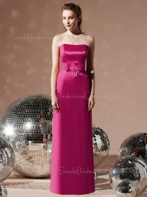 Zipper Satin Strapless Empire Sleeveless Bridesmaid Dress