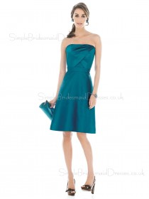 A-line Ruffles Strapless Satin Knee-length Bridesmaid Dress
