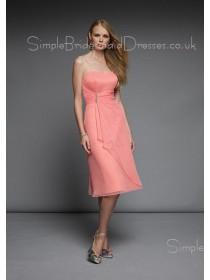 Strapless Pink Backless Tea-length Empire Bridesmaid Dress