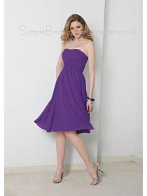 Knee-length Lilac Sleeveless Backless Draped/Ruffles Bridesmaid Dress